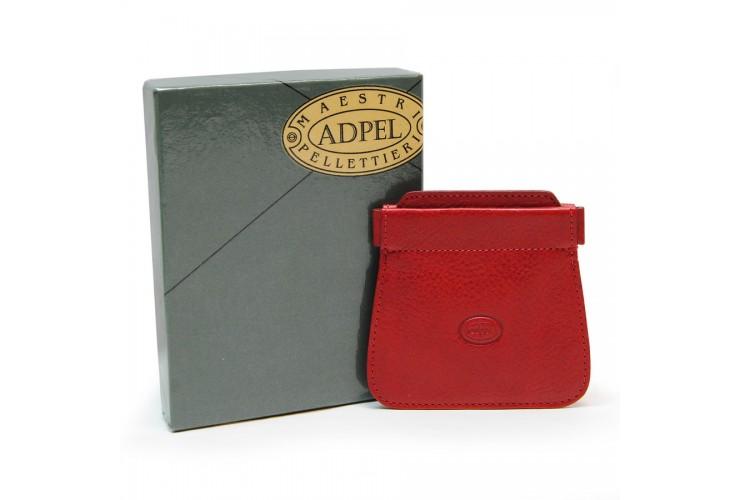 Portamonete a molla 2 tasche, pelle Toscana Vegetale Rosso