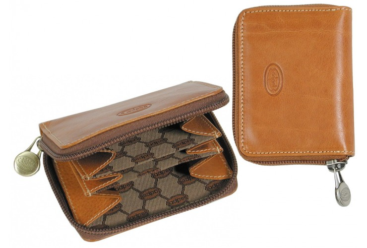 Mini coin wallet with zip and belt loop, in Vegetable leather cm.10