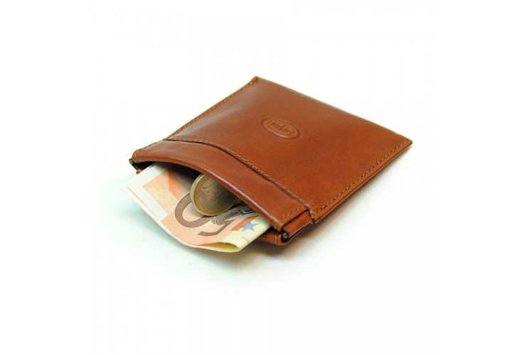 Coin and jewel pouch with spring closure, Vegetable leather - Tan/Cognac