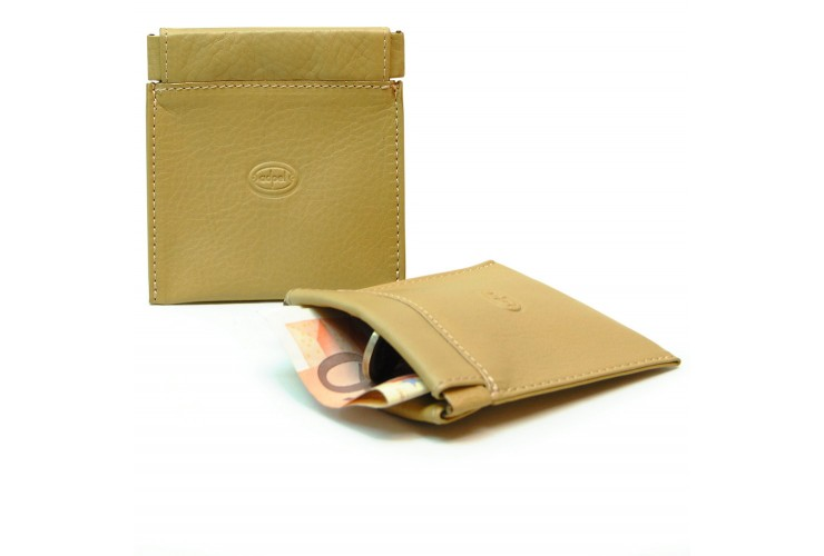 Coin pouch with spring closure, Vegetable leather - Fawn/Beige