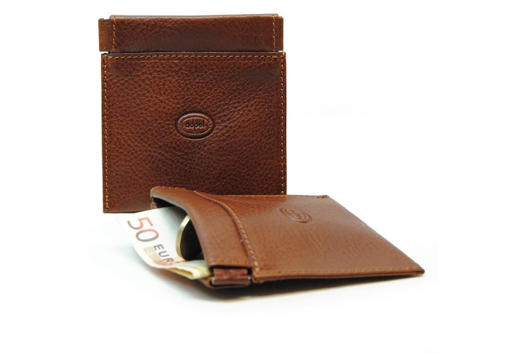 Coin and jewel pouch with spring closure, Vegetable leather - Mahogany/Brown