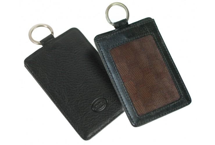 Badge porta card e portachiavi in pelle Toscana Vegetale Nero