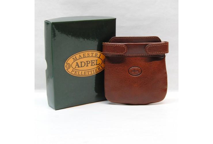 Portamonete morbido a molla 2 tasche pelle Toscana Vegetale Stradivari/Cognac