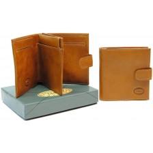 Portafoglio mini con portamonete, pelle Vacchetta Miele