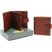 Portafoglio mini con portamonete, pelle Vacchetta Cognac
