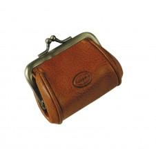Portamonete clutch piccolo con cerniera, pelle Vegetale 8cm Miele