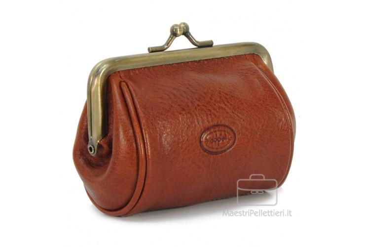 Portamonete clutch con cerniera, pelle Vegetale 10cm Stradivari/Cognac