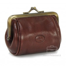 Women's Purse clutch made by Vegetable leather 10cm Brown