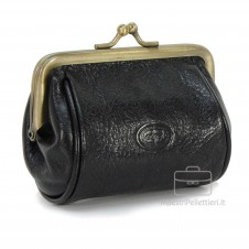 Women's Purse clutch made by Vegetable leather 10cm Black