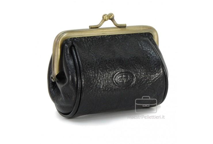 Clutch Geldbörse aus pflanzlich italienische vachetta leder 10cm Schwarz