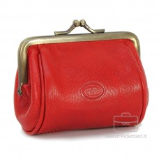 Portamonete clutch con cerniera, pelle Vegetale 10cm Rosso