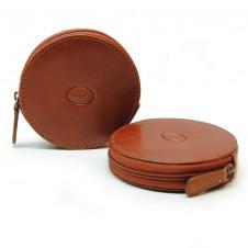 Münzbörse mini reißverschluss geldbörse, pflanzlich italienische vachetta leder 8.5cm Hellbraun/Cognac