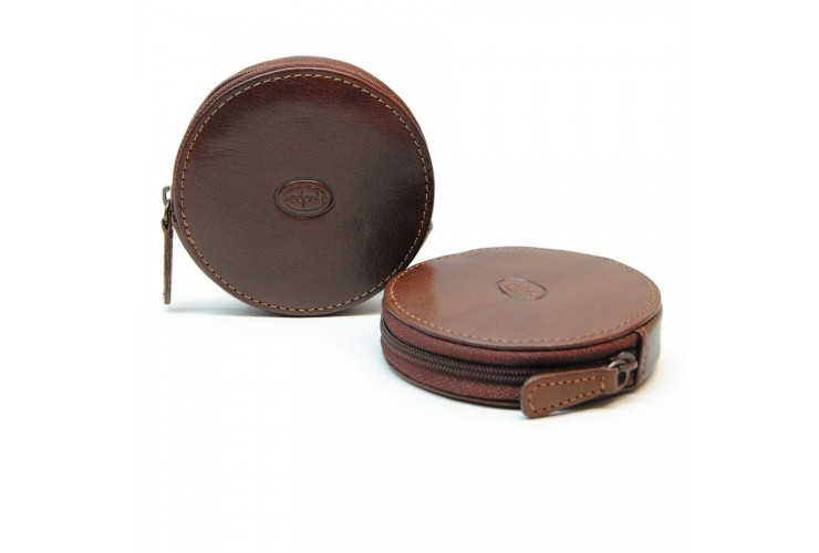 Coin and jewel pouch, wheel-shaped, zip closure, Vegetable leather - Brown