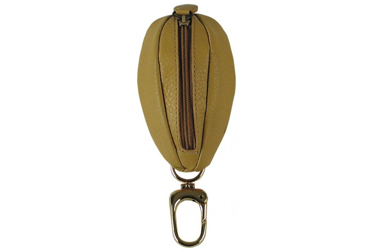 Coin key pouch with zip Vegetable leather 10 cm Beige