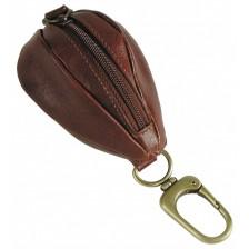 Portamonete zip con moschettone, pelle Vegetale 10cm Marrone
