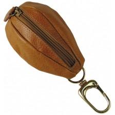 Portamonete zip con moschettone, pelle Vegetale 10cm Miele