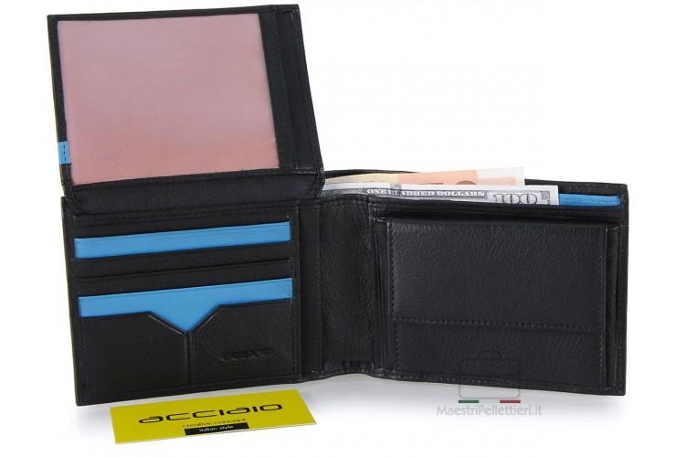 Portafoglio uomo pelle con portamonete 8c/c ribaltina Nero/Turchese