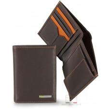 Portafoglio verticale tasconcino pelle 5cc portamon. Marrone/Moka