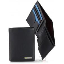 Portafoglio verticale tasconcino pelle 5cc portamonete Nero/Turchese