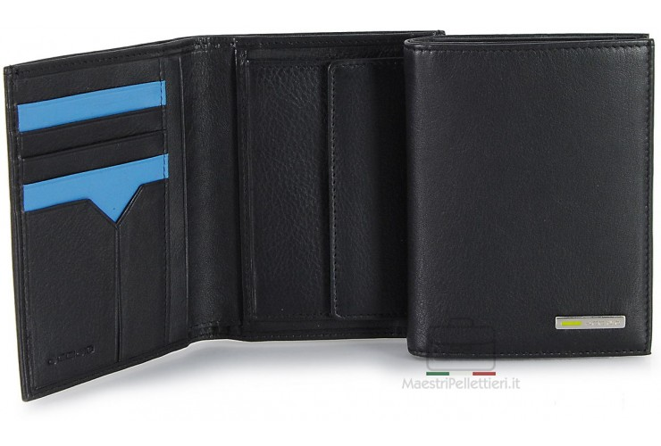 Men's leather bifold breast wallet, billfold 5 cards Black/Turquise