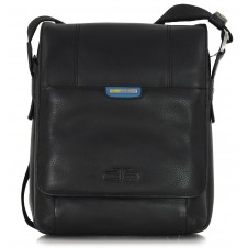 Herren Umhängetasche aus leder, breiten seiten, iPad tablet-tasche 10'' Schwarz