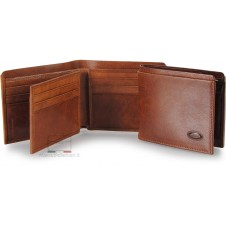 Men's small leather wallet with flap 10 cards - Italian vegetable leather brown