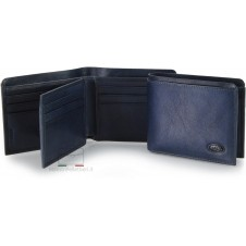 Men's small leather wallet with flap 10 cards - Italian vegetable leather blue