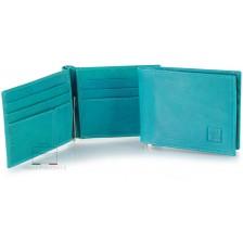 Portafoglio uomo con gancio fermasoldi clip 6cc pelle Vegetale Blu Cielo