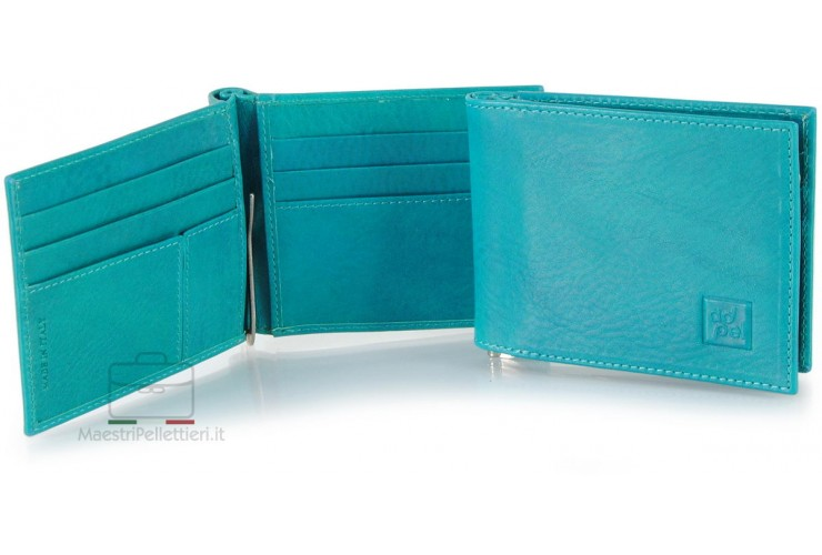 Men's leather bifold wallet, handy spring clip 6 cards - Italian vegetable leather Blu Sky