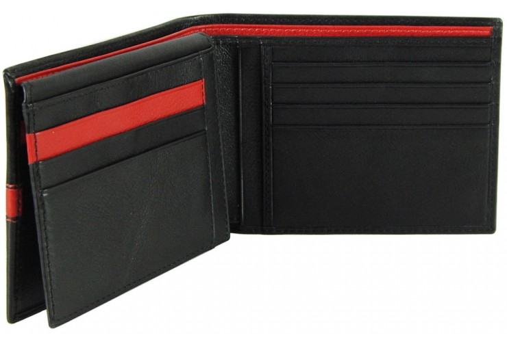 Soft man's stylish Horizontal leather wallet 11cc Black