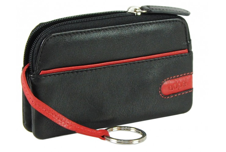 Soft leather stylish coin pouch key wallet with zip, 2 gussets , Black