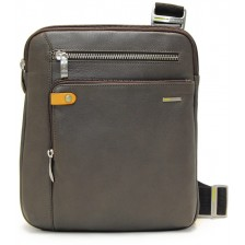 Borsello porta tablet 11'' in pelle Grigio/Taupe