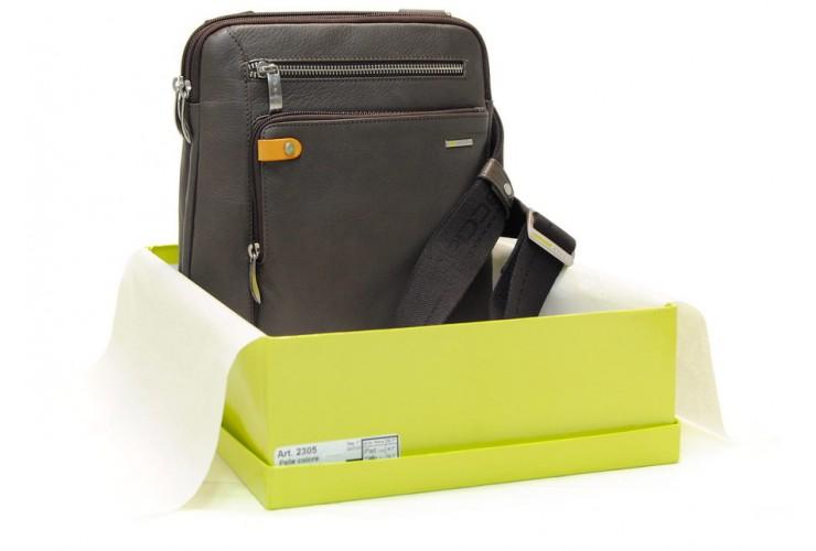 Borsello porta tablet 11'' in pelle Grigio/Taupe