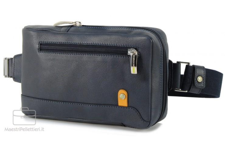 Monospalla Marsupio in pelle, tasca Tablet 8'' Blu/Navy