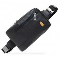 Monospalla Marsupio in pelle, tasca Tablet 8'' Nero