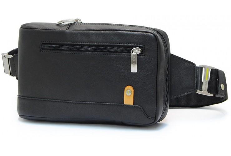 Brusttasche Gürteltasche aus Leder, tablet-fach 8' Schwarz 23cm