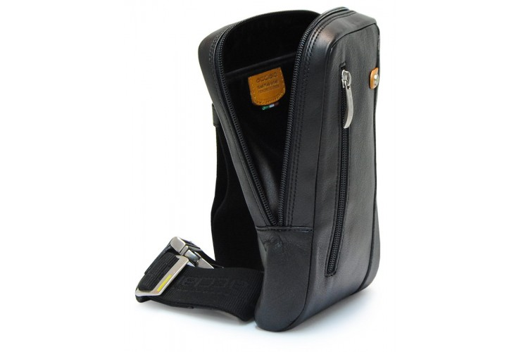 Cross body Bum bag in leather for Tablet up to 8'' Black