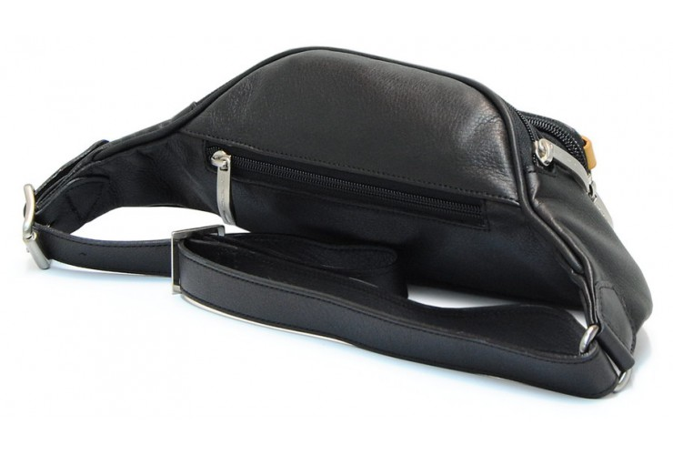 Bum bag in leather, with pocket for Smartphone/iPhone 6.5'' Black
