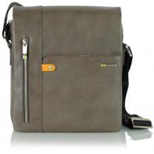 Borsello uomo in pelle con fianco largo, patta e tasca iPad 10'' Grigio/Taupe