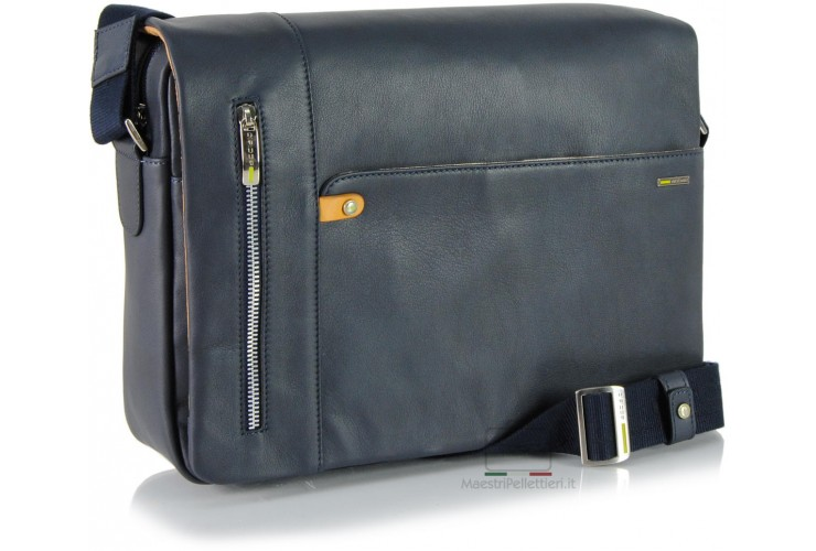 Borsa Messenger in Pelle morbida Blu 13''