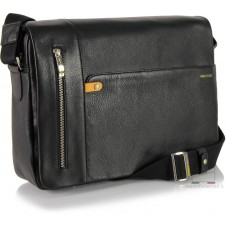 Messenger Bag Leather soft Black 13''