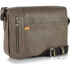 Messenger Bag Leather soft Grey/Taupe 13''