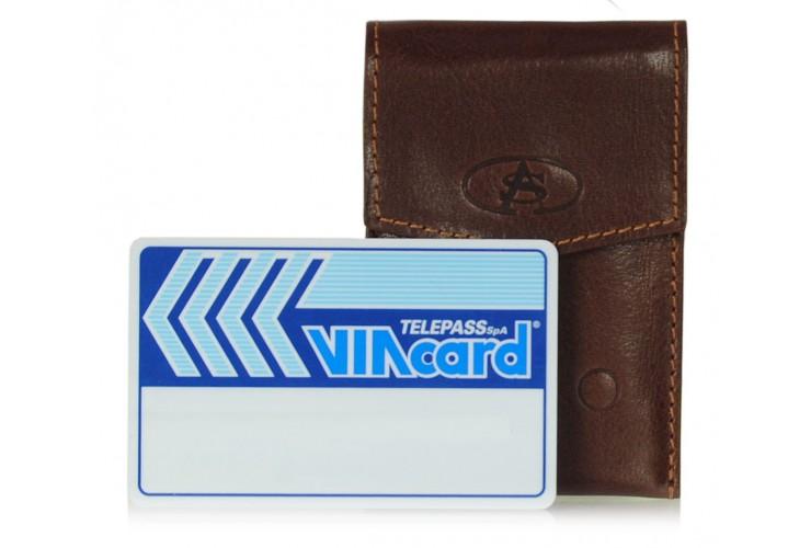 Custodia Porta card in pelle vegetale marrone