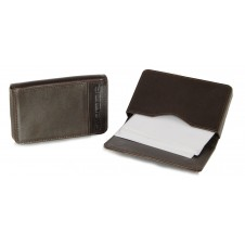 Leather visit card holder hard box magnet brown