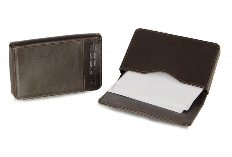 Leather visit card holder hard box magnet brown