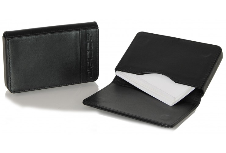 Leather visit card holder hard box magnet black