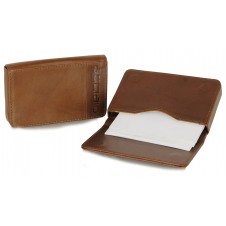 Leather visit card holder hard box magnet cognac