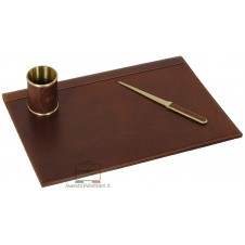 Desk writing set leather kit 3 pcs, vegetable tanned Brown/Chestnut