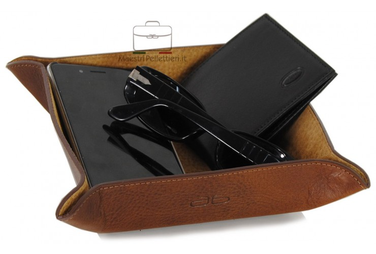 Leather tray, gift tidy tray vegetable tanned Brown/Chestnut