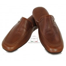 Comfort Slippers in italian vegetable leather - Brown/Chestnut